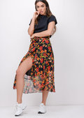 Floral Ruffle Wrap Over Midi Skirt Black