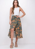 Floral Ruffle Wrap Over Midi Skirt Blue