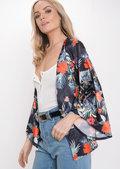 Floral Satin Kimono Jacket Black