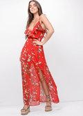 Floral Side Split Chiffon Maxi Dress Red