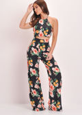 Floral Strap Halterneck Crop Top Black