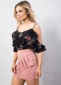 Floral Strappy Crop Top With Frill Cold Shoulder Black