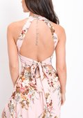 Floral Thigh Split Maxi Dress Pink