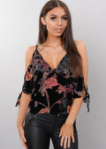 Floral Velvet Cold Shoulder Top Black