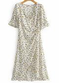Floral Wrap Across Buttoning Slit Cut Dress White