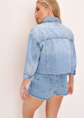 Frayed Hem Cropped Denim Jacket Light Blue