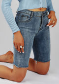 Frayed Hem Denim Cycling Shorts Light Blue