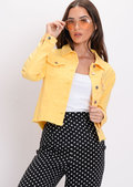 Frayed Hem Cropped Denim Trucker Jacket Yellow