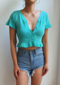 Frill Button Down Open Front Crop Cardigan Crop Top Green