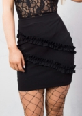 Frill Detail Bodycon Mini Skirt Black