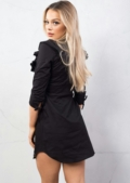 Frill Detail Shirt Dress Tie Sleeve Black
