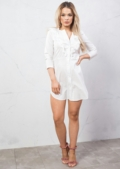 Frill Detail Shirt Dress Tie Sleeve White
