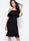 Frill Off The Shoulder Midi Bodycon Dress Black