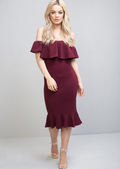 Frill Off The Shoulder Midi Bodycon Dress Burgundy Red