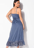 Frill Polka Dot Wrap Over Midaxi Dress Blue