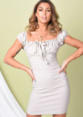Frill Ruched Bardot Mini Dress Beige