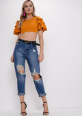 Frill Sleeve Crop Top Mustard Yellow