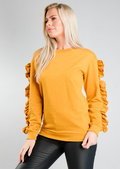Frill Sleeve Sweatshirt Jumper Mustard Yellow
