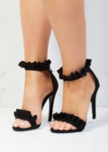 Frill Strappy Stiletto Heeled Sandals Suede Black
