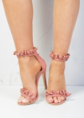Frill Strappy Stiletto Heeled Sandals Suede Blush Pink