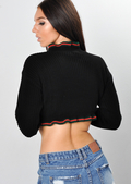 Frill Stripe Crop Knitted Jumper Black
