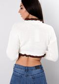 Frill Stripe Crop Knitted Jumper White