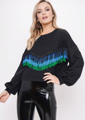 Fringe Detail Sweatshirt Crop Jumper Black