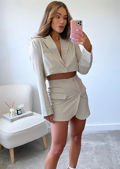 Front Button Down Collared Blazer Top And Mini Skirt Co-Ord Set Beige