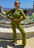 Front Button Down Shirt Crop Top And High Waist Flared Pants Co-Ord Set Green