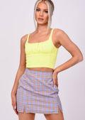 Front Split Checked Mini Skirt Blue