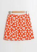 Front Split Daisy Print Mini Skirt Red