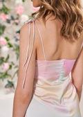 Tie Shoulder Spaghetti Strapped Front Split Cami Dress Tie Dye Pink