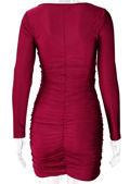 Front Twisted Cut Out Long Sleeve Ruched Mini Dress Red