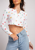 Fruit Print Button Down Cropped Cardigan Top White