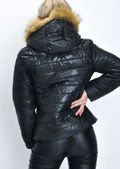 Faux Fur Lined Hooded Padded Puffer Coat Black