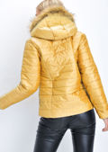 Faux Fur Lined Hooded Padded Puffer Coat Yellow