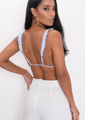 Gingham Check Triangle Frill Bralet Top Blue
