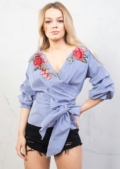 Gingham Floral Embroidered Wrap Over Puff Sleeve Shirt Top Blue