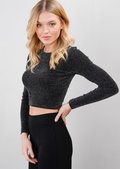 Glittery Long Sleeve Luxe Crop Top Black