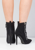 Glitter Ribbon Lace up Pointed Heel Ankle Boots Black