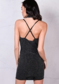 Glittery Draped Halterneck With Choker Cross Back Bodycon Mini Dress Black