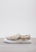 Glittery Star Slip On Plimsolls Metallic Gold