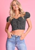 Polka Dot Puff Sleeve Bardot Crop Top Black