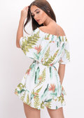 Green Leaf Print Bardot Playsuit White