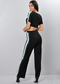 Green Side Stripe Tracksuit Crop Top Loungewear Set Black