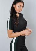 Green Side Stripe Tracksuit Crop Top Loungewear Set Black