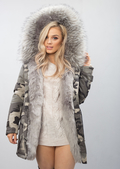 Grey Faux Fur Hooded Padded Parka Camo Khaki Coat Khaki Green