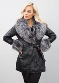 Dark Grey Faux Fur Longline Biker Jacket Coat Black