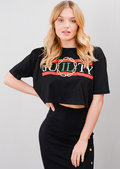 Guilty Cropped Slogan Tee T-Shirt Black
