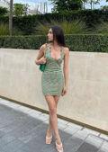 Rib Knit Halterneck Back Tie Patterned Mini Dress Multi